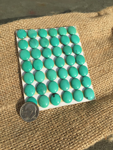 Natural Turquoise Cabochons, 10X12mm (Calibrated Lot of 42 Stones) - Native Marvels