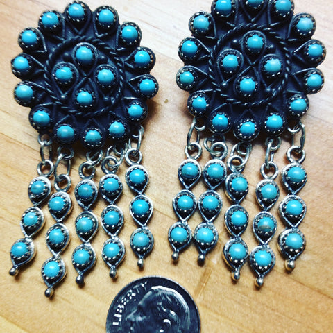 Medallion | Sterling Silver Chandelier Earrings With Turquoise - Native Marvels