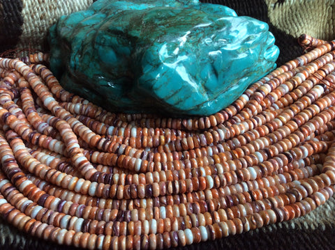 22 inch Spiny Oyster Orange Disk Bead Strands | 8mm, Grade B - Native Marvels