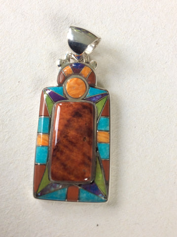 Western View | Sterling Silver Pendant With Spiny Oyster, Turquoise & Coral - Native Marvels