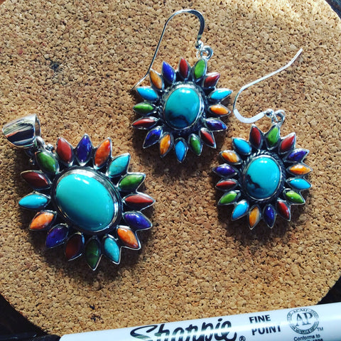 Starburst | Sterling Silver Earrings With Coral, Spiny Oyster, Turquoise, & Gaspeite - Native Marvels