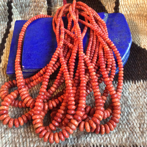16 Inch Sponge Coral Red Rondell Bead Strands | 4-10mm, A Grade - Native Marvels