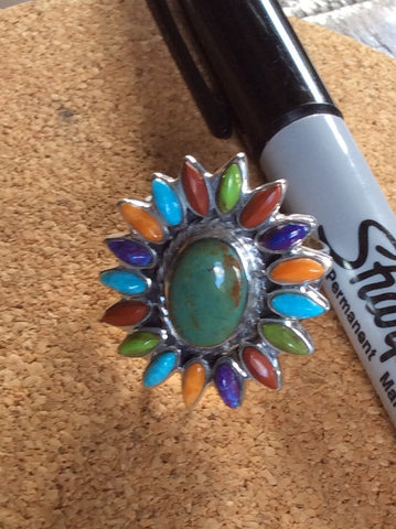 Starburst | Sterling Silver Ring With Coral, Spiny Oyster, Turquoise & Gaspeite - Native Marvels
