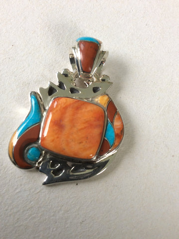 Flame | Sterling Silver Pendant With Spiny Oyster, Turquoise & Coral - Native Marvels