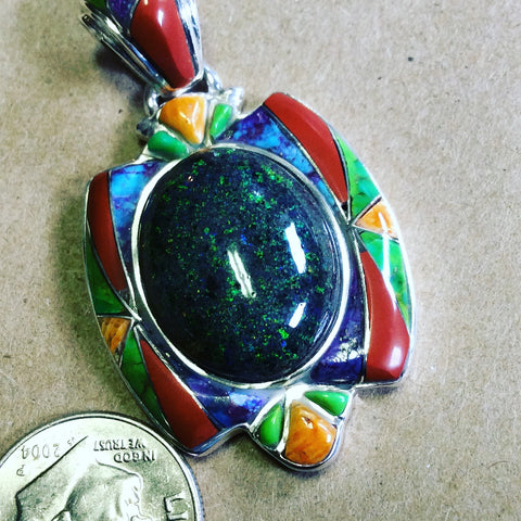 Dark Moon | Black Opal Pendant With Spiny Oyster, Turquoise, Coral & Gaspeite - Native Marvels