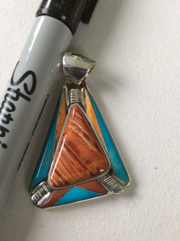 Arrow Head | Sterling Silver Inlay Pendant With Spiny Oyster, Turquoise, Coral and Gaspeite - Native Marvels