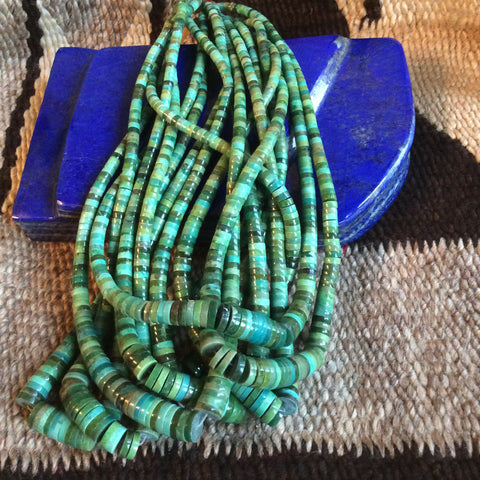 16 Inch Green Turquoise Heshi Bead Strands | 4-10mm, A Grade - Native Marvels