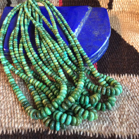 16 inch Green Turquoise Rondell Bead Strands | 4-10mm, A Grade - Native Marvels