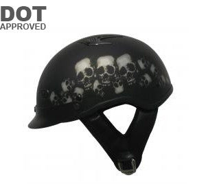 DOT Skull Half Beanie Motorcycle Helmet 100VSP - Proven Power Sports