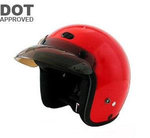 DOT Red Three Quarter Motorcycle Helmet RMTTR - Proven Power Sports