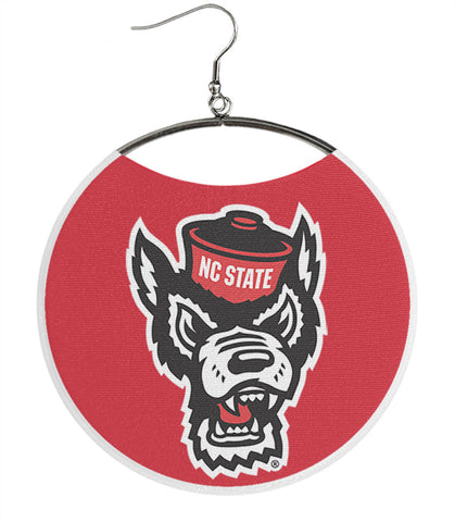 North Carolina State University Earrings, NCSU Wolf Head