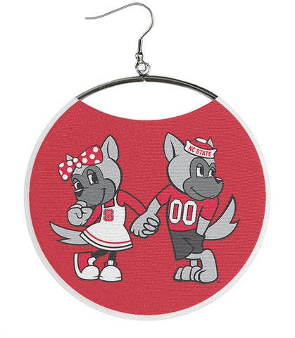 North Carolina State University Earrings, NCSU Mr. & Ms. Wuf
