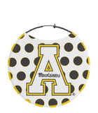 "Appalachian State University Earrings, ""A"" Logo with Black and Yellow Polka Dots"