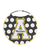 "Appalachian State University Earrings, ""A"" Logo with White Polka Dots"