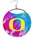 "University of Oregon Earrings, Oregon Ducks ""O"" on Cute Tie-Dye"