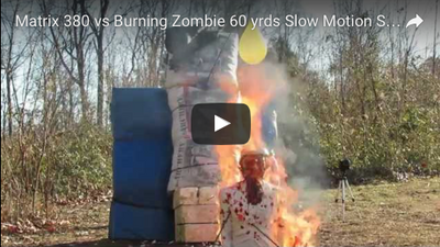 Matrix 380 vs Burning Zombie 60 yrds Slow Motion Shot