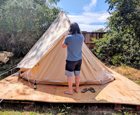 We decided we want to keep the tent up year round so we wanted to raise it off the ground. I came up with a super cheap super easy solution. & The Bohemian Glamping Tent and How to Set up Your Own! u2013 www ...