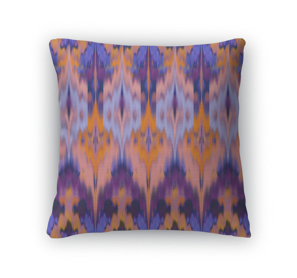 Throw Pillow, Abstract Ethnic Ikat Pattern