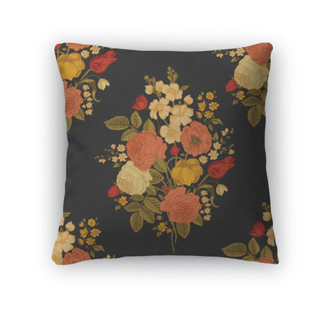 Throw Pillow, Vintage Pattern With Victorian Bouquet