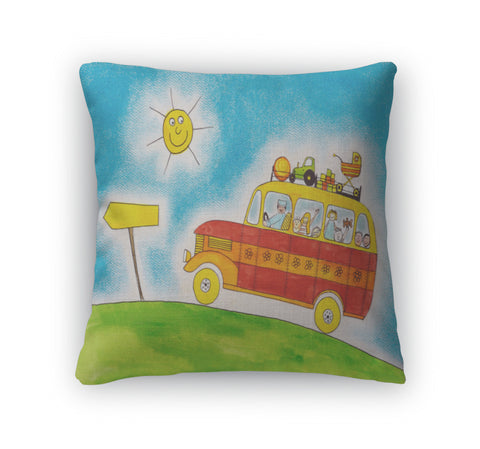 Throw Pillow, School Bus Trip Childs Drawing Watercolor Painting On Paper