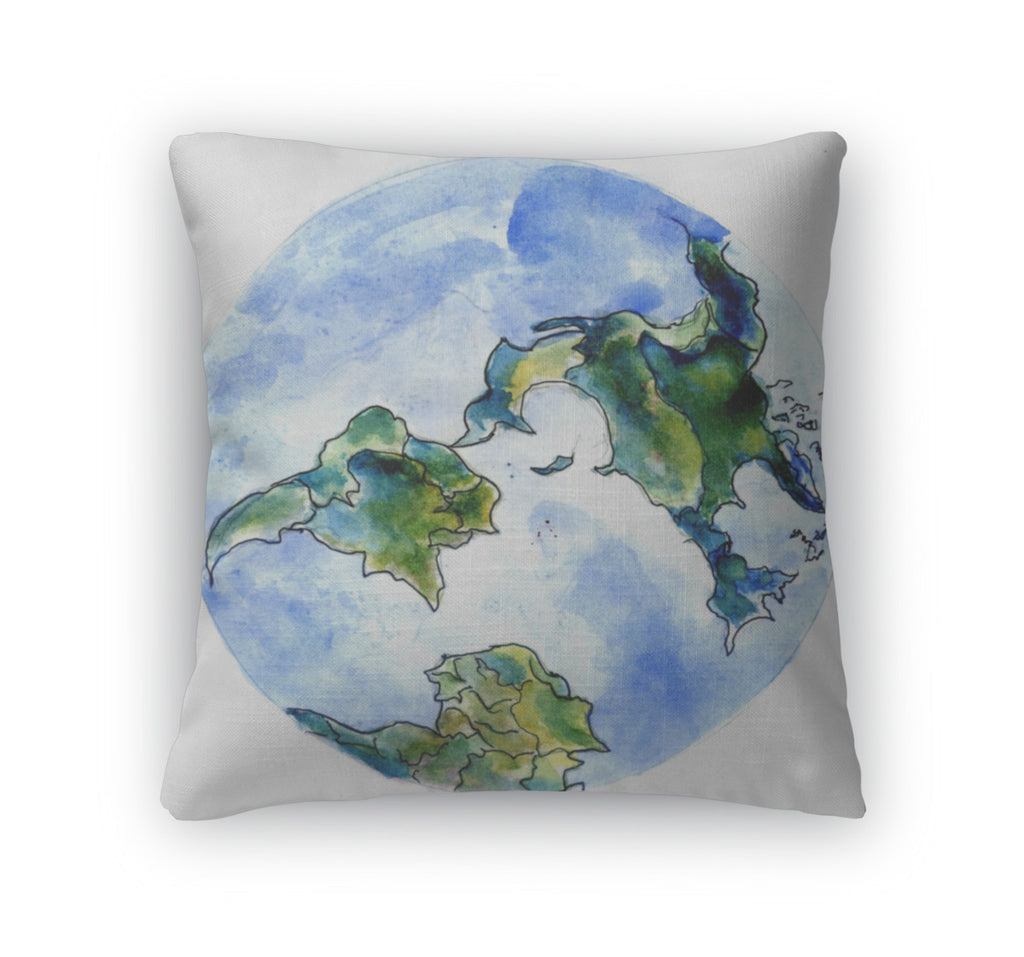 Throw Pillow, Hand Drawn Earth