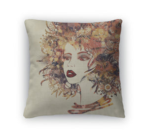 Throw Pillow, Art Colorful Sketched Beautiful Girl Face In Profile