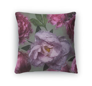 Throw Pillow, Art Vintage Floral Pattern With Pink And Lilac Peonies