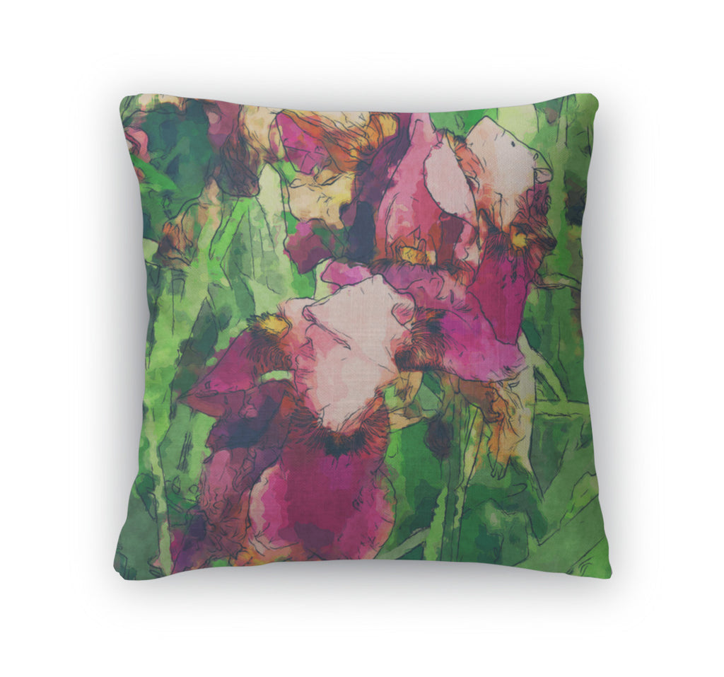 Throw Pillow, Art Floral Colorful Watercolor