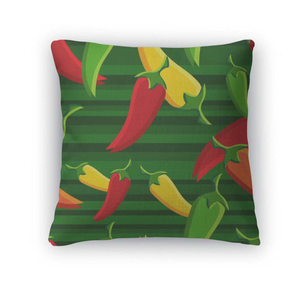 Throw Pillow, Chilli Peppers Pattern Backgroun