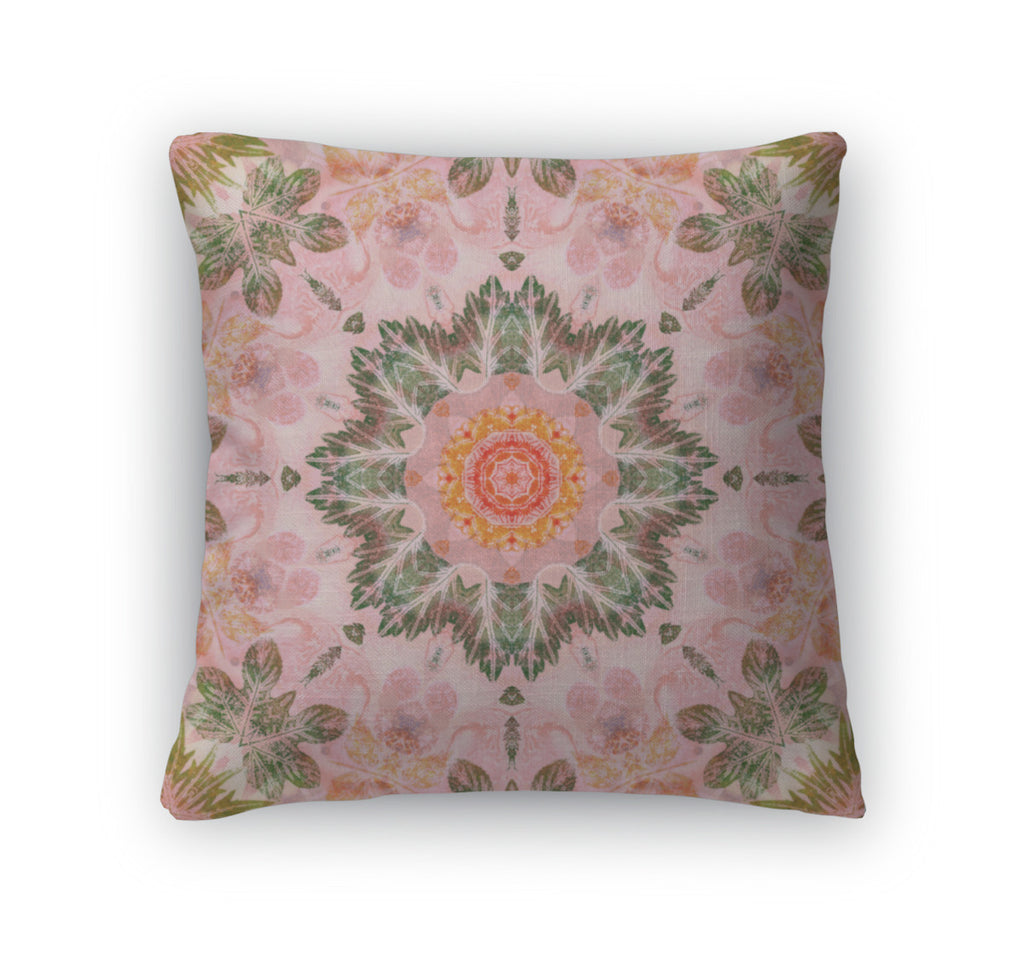 Throw Pillow, Pattern With Paintings Leaves