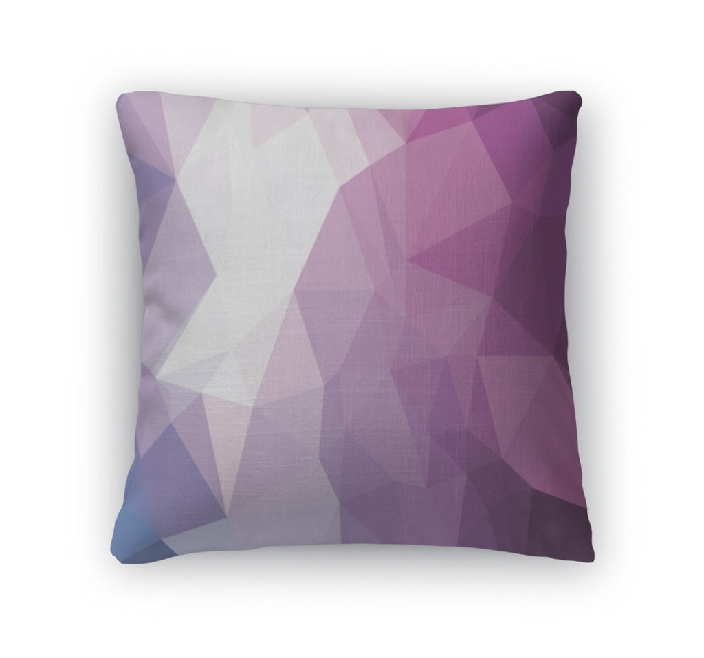 Throw Pillow, Abstract Triangle Geometry Pattern Purple Sensation