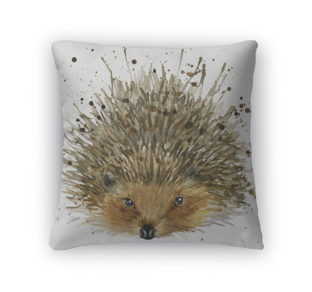 Throw Pillow, Hedgehog Illustration With Splash Watercolor D