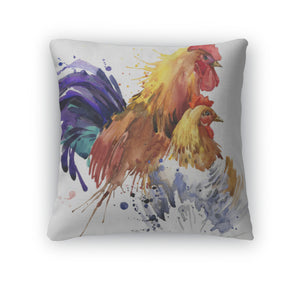 Throw Pillow, Chicken And Rooster Tshirt Graphics Chicken And Rooster Family Illustration