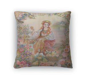 Throw Pillow, Young Woman In Ukrainian Costume