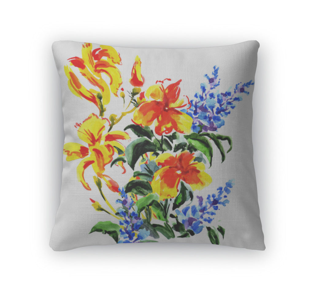 Throw Pillow, Beautiful Bouquet Of Bright Flowers Isolated