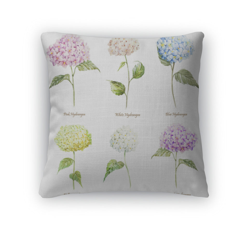 Throw Pillow, Hydrangea Watercolor Flowers Pattern