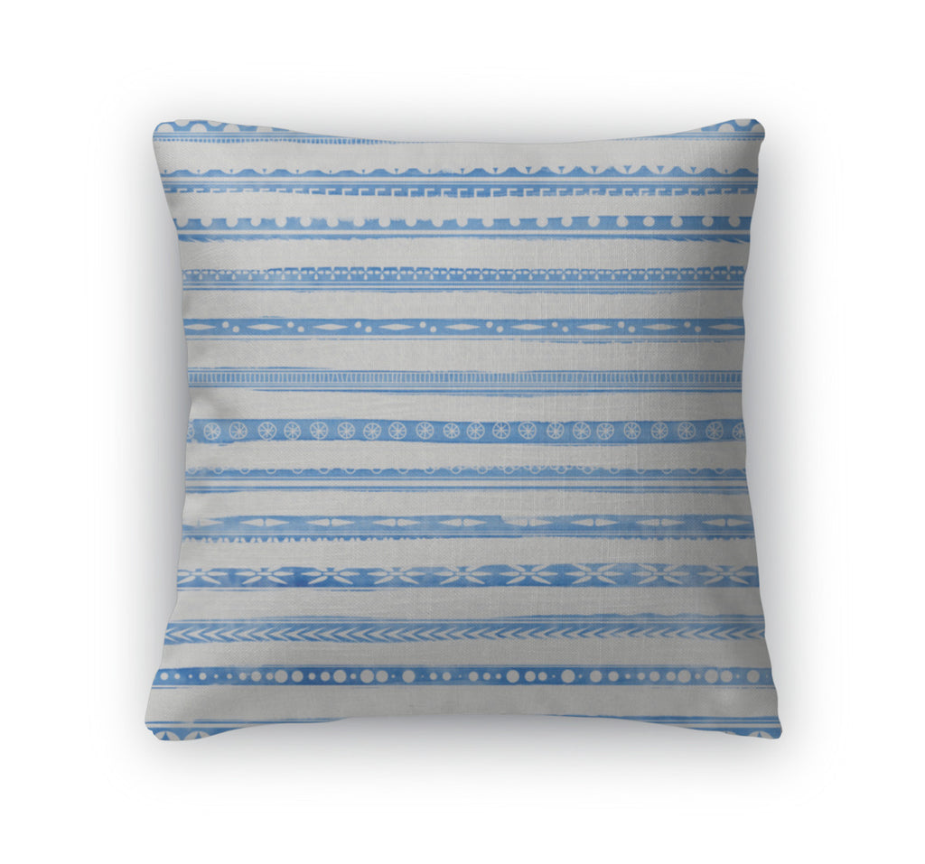 Throw Pillow, Striped Light Blue Watercolor With Ethnic Ornaments