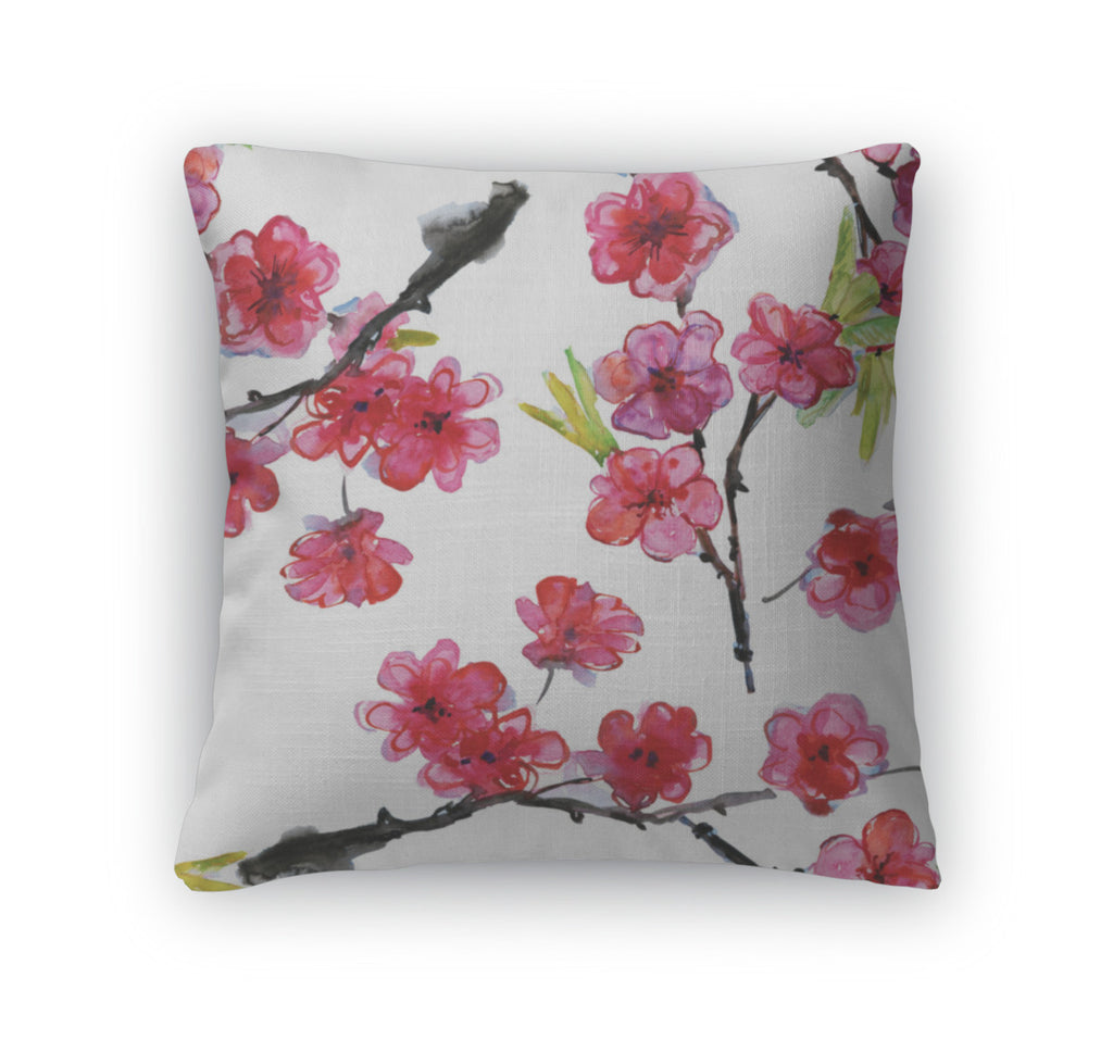 Throw Pillow, Cherry And Plums Flowers