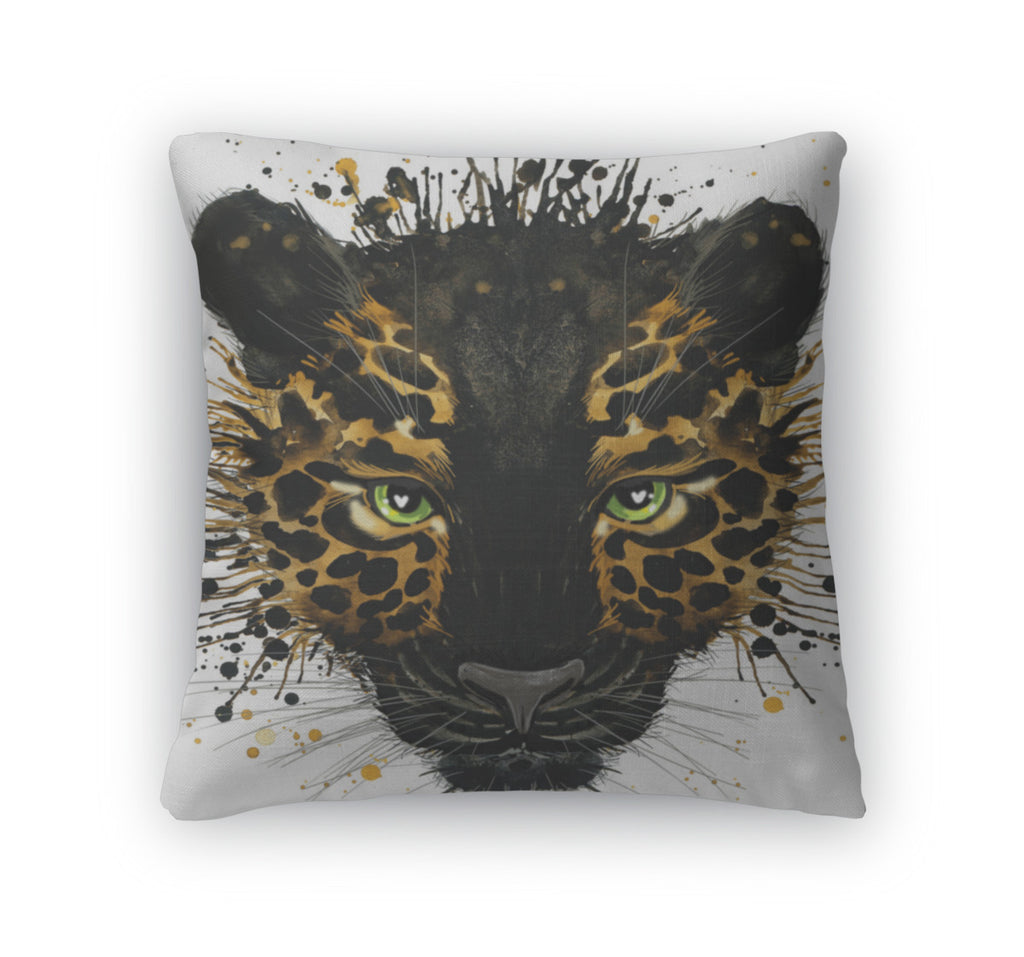 Throw Pillow, Jaguar Illustration With Splash Watercolor D