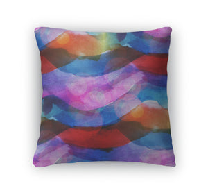 Throw Pillow, Sunlight Macro Watercolor Blue Red Stripes Pa