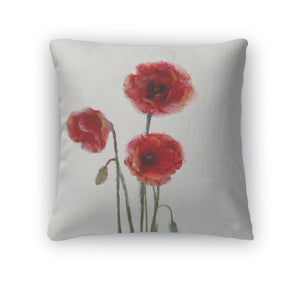 Throw Pillow, Red Poppy Flowers Watercolor Painting Isolated On White Backgroud