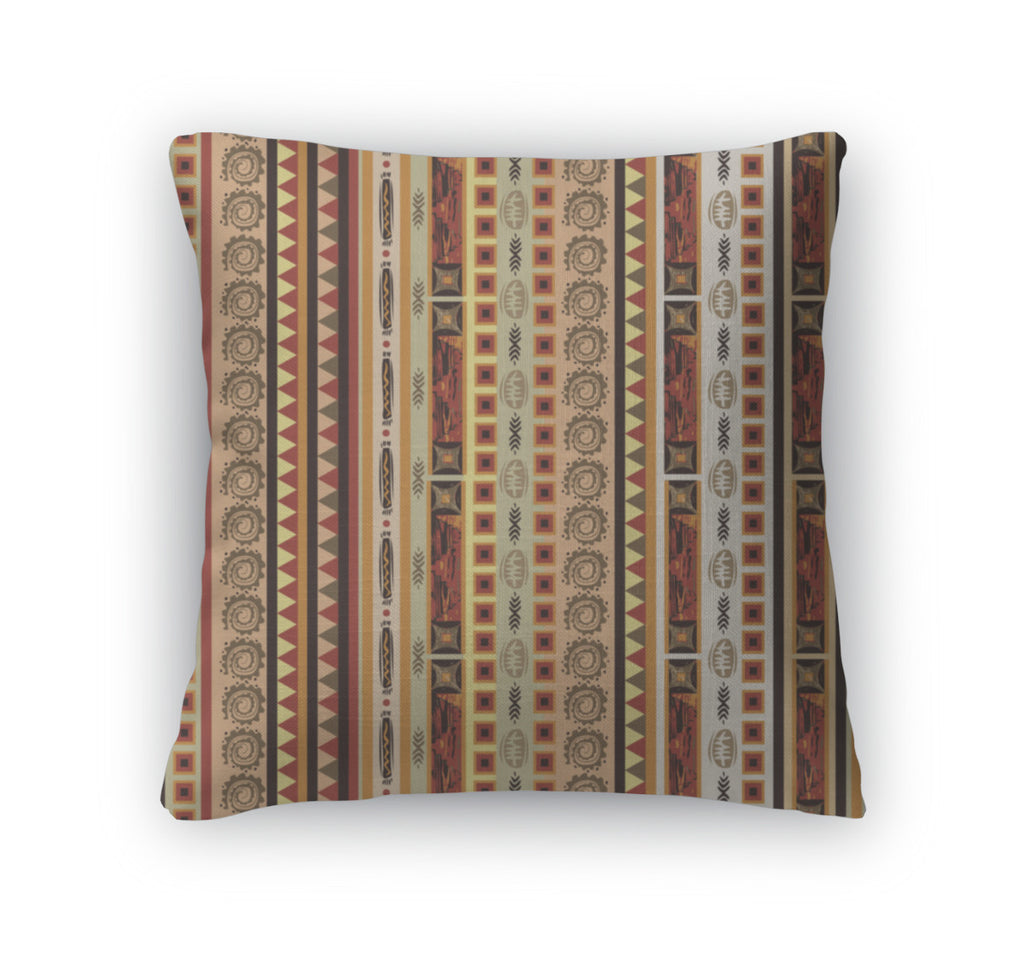 Throw Pillow, Ethnic African Geometrical Ornament