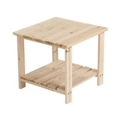 Unfinished Fir Wood 2-Tier End/Side Table