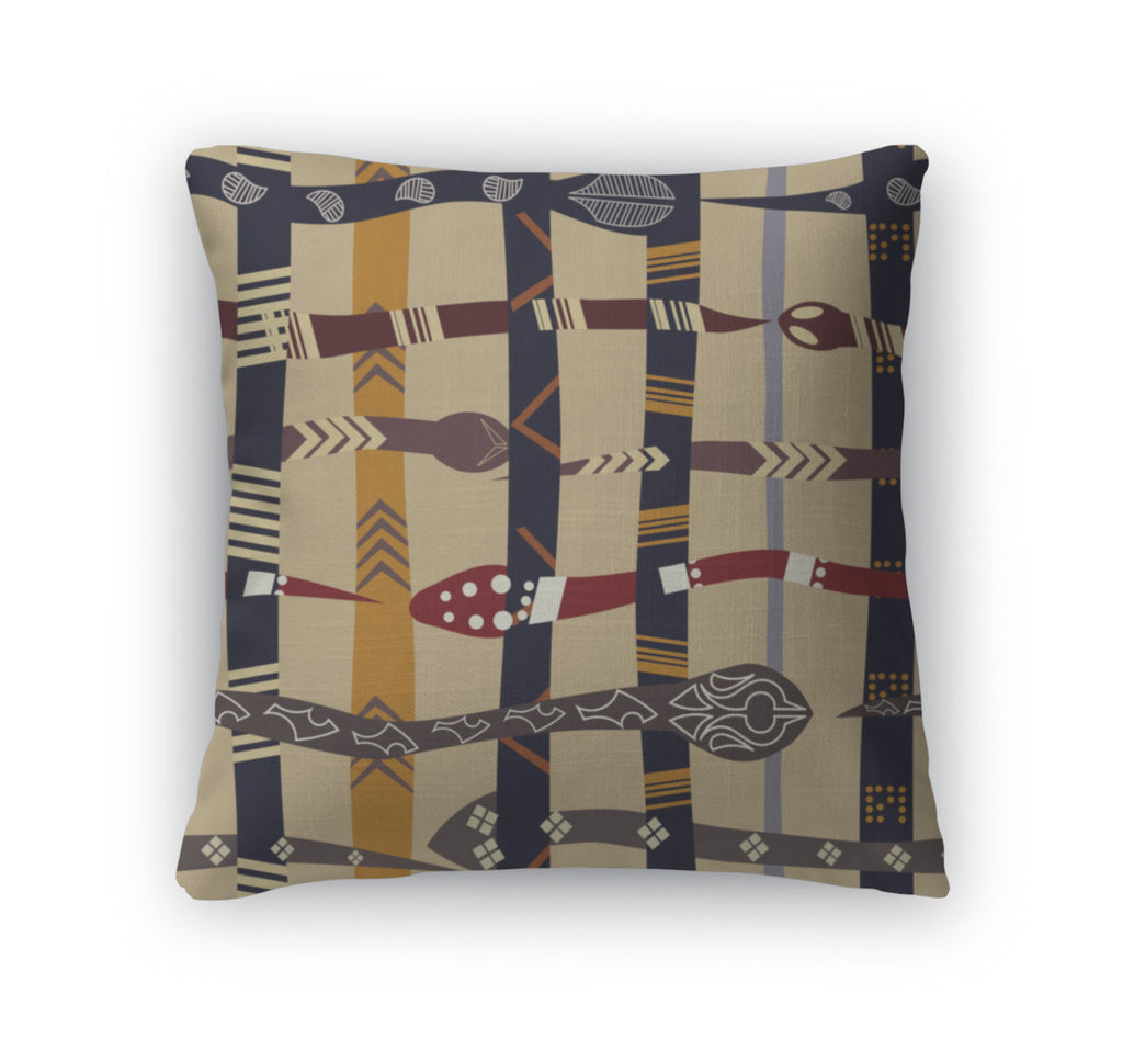 Throw Pillow, Pattern With Snakes
