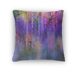Throw Pillow, Abstract Violet Red And Yellow Color Flowers Watercolor Painting Spring Purple