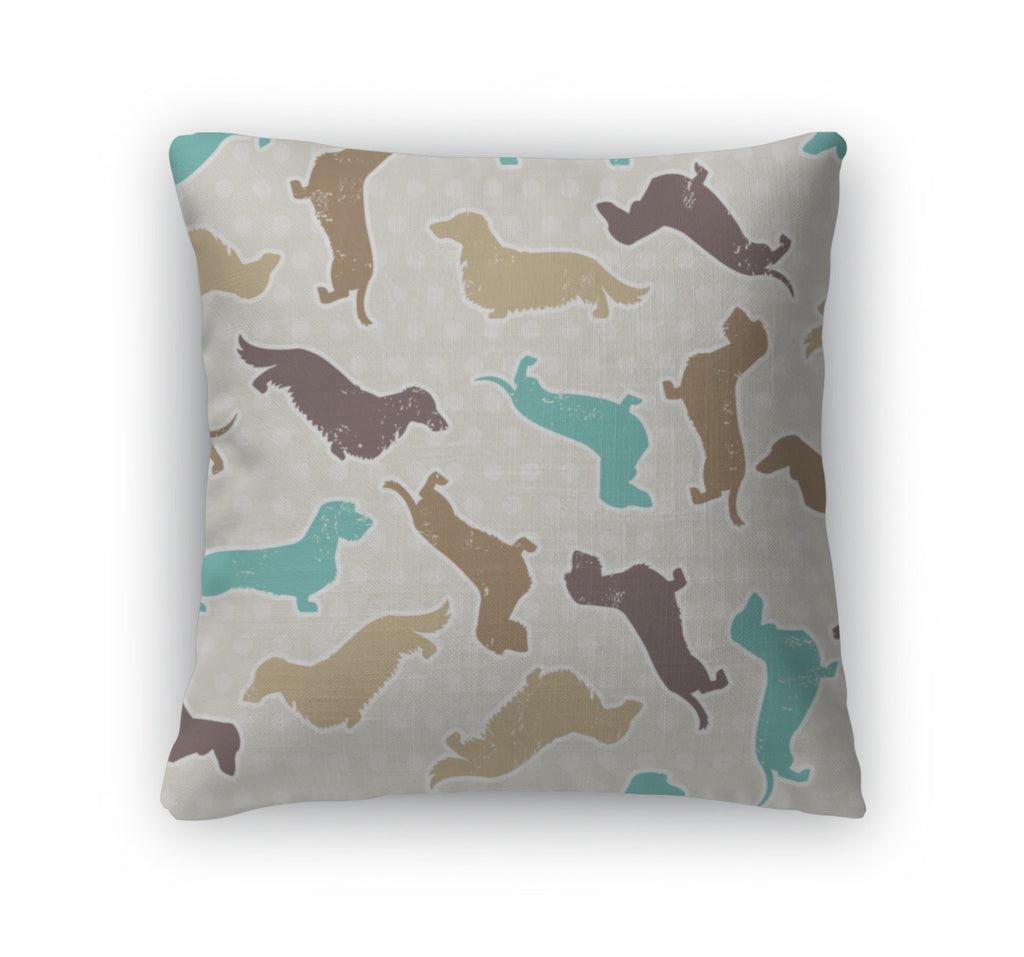 Throw Pillow, Dachshunds Varieties Pattern