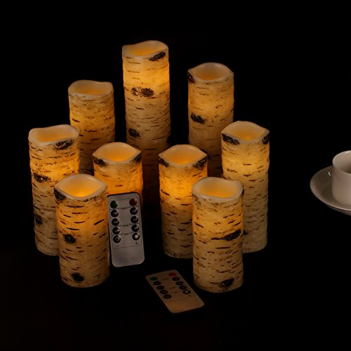 "Flameless Candles Battery Operated Birch Bark Effect 4"" 5"" 6"" 7"" 8"" 9"" Set of 9"