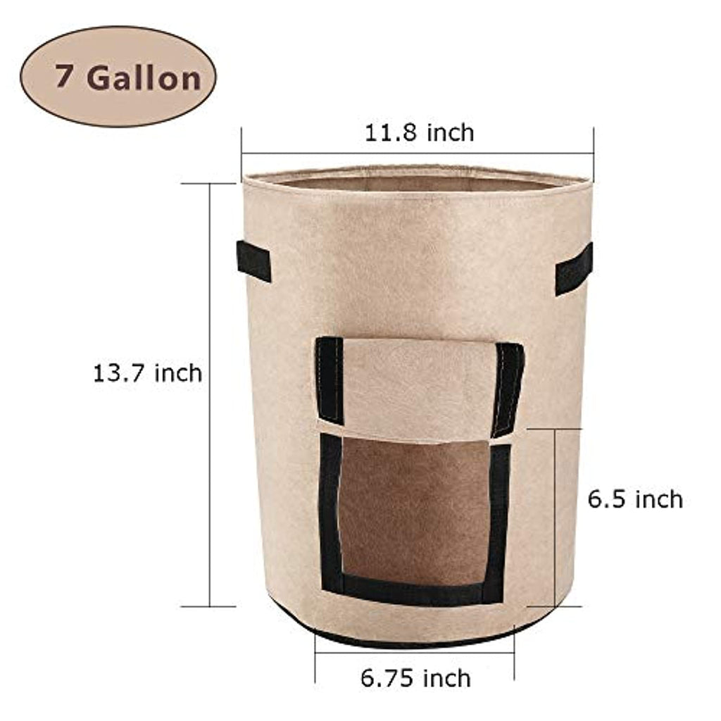 Potato, Carrot, root vegetable Planter Bags, Fabric Pots with Handles and Flap, for Vegetables, Tomatoes, Carrots, Onions also (7 Gallon - 3 Pack)