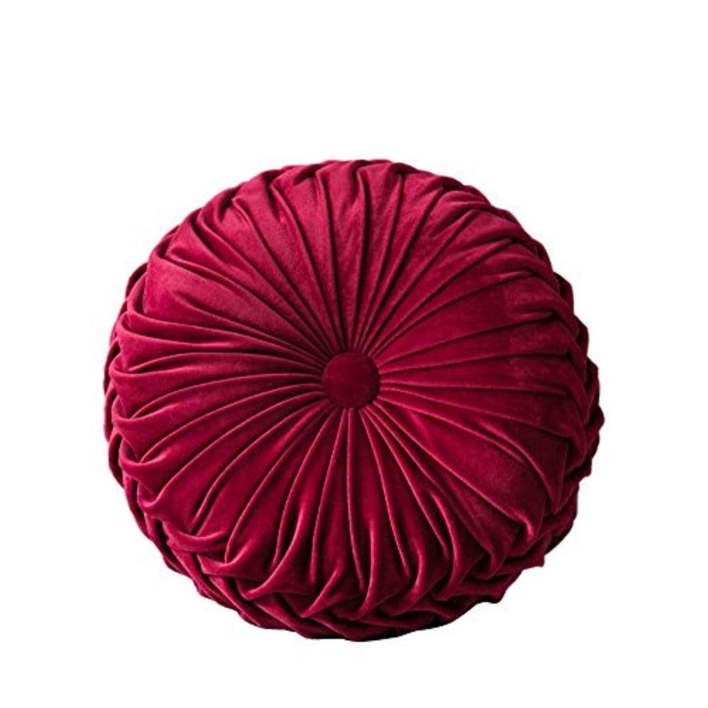 Velvet Pleated Round Pumpkin Throw Pillow Couch Cushion Floor Pillow for Sofa Chair Bed