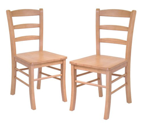 Wood Ladder Back Chair, Light Oak, Set of 2